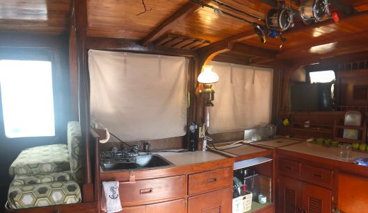 Window treatments for the galley.