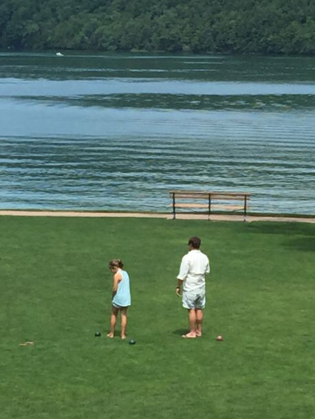 Brian and Mags on the lawn at the Otesaga Resort where we hung out between games.